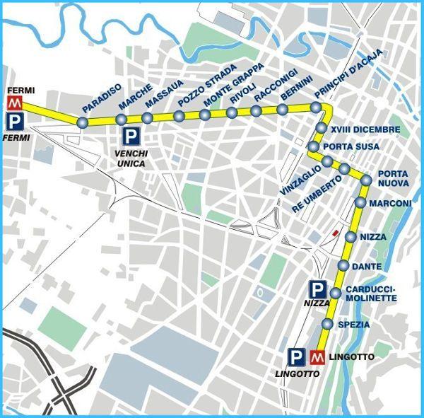 Mapa metro Turín